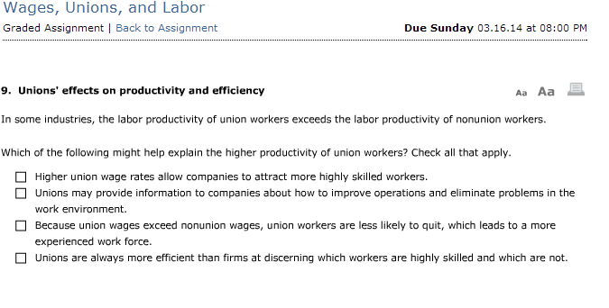 labor unions effects on productivity Of labor-saving or labor-augmenting increase in productivity is consistent with several of the explanations of union's productivity enhancing effects, 15% increase freeman, medoff, and connerton (1979), 25%-30% increase.