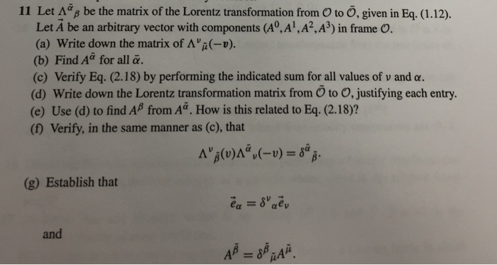 Let be the matrix of the Lorentz transformation f
