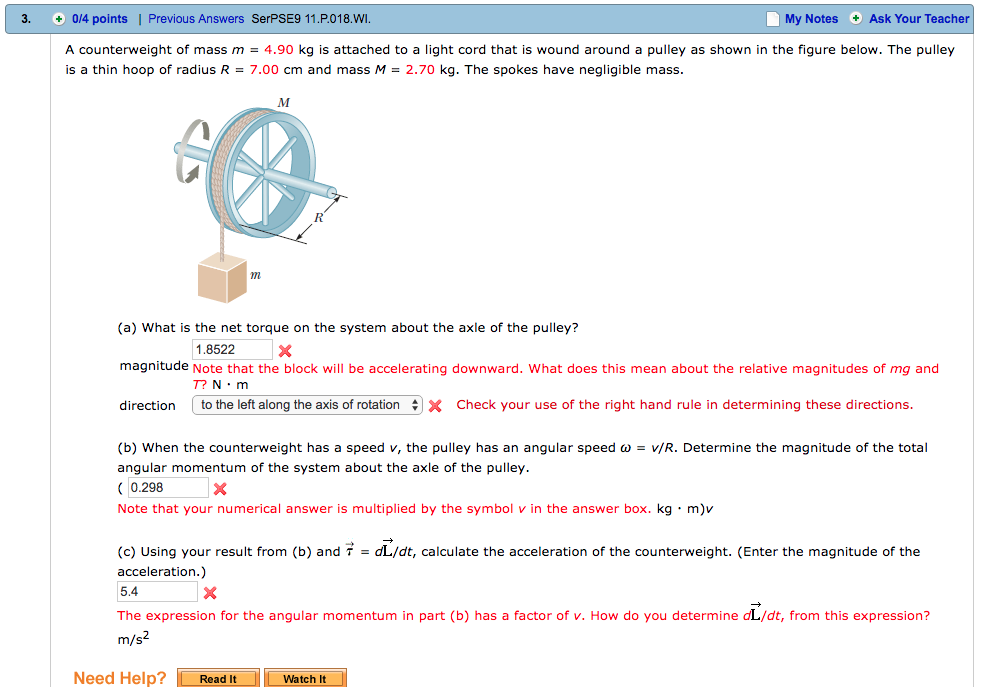 Solved: A Counterweight Of Mass M = 4.90 Kg Is Attached To ...