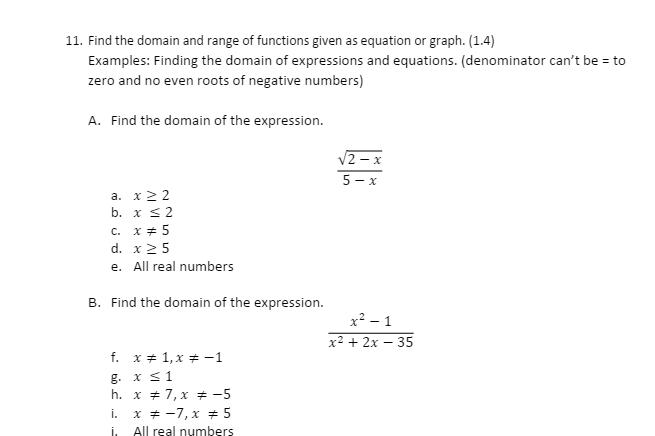 Solved Find The Domain And Range Of Functions Given As Eq