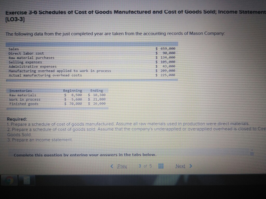 Solved: 1. Prepare A Schedule Of Cost Of Goods Manufacture ...