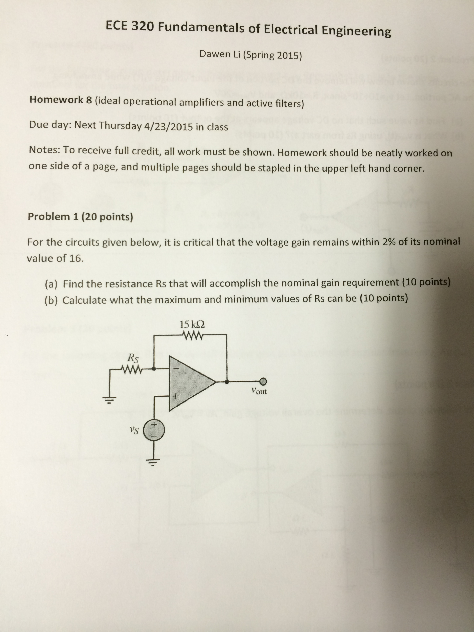 Solved Homework 8 Ideal Operational Amplifiers And Activ Electrical Circuits Filter Calculators Image For Active Filters Due Day Next