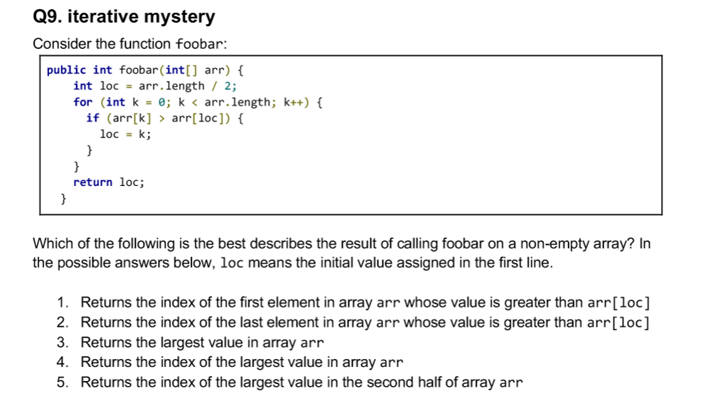 Solved Q9 Iterative Mystery Consider The Function Foobar