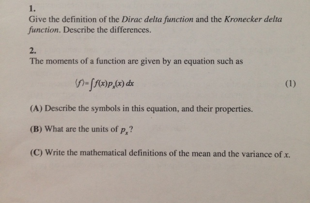 Give the definition of the Dirac delta function an