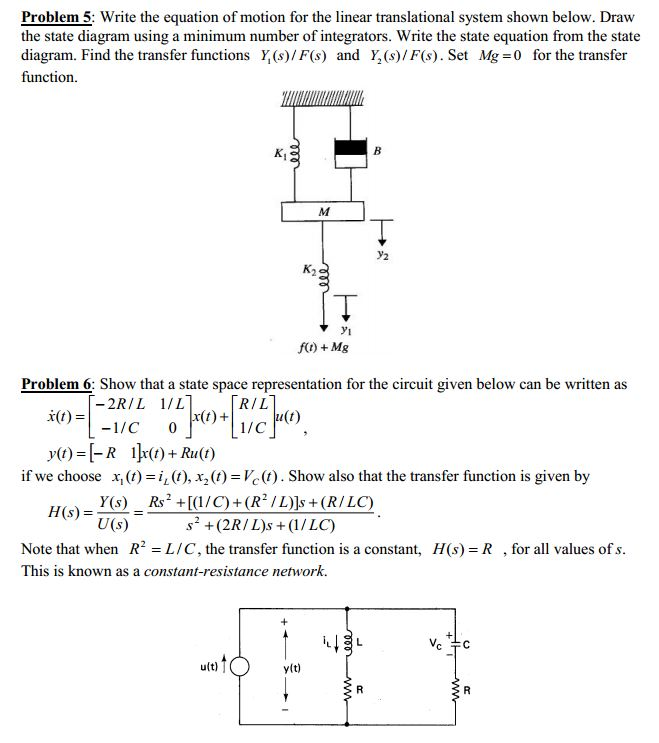 Solved Problem 5 Write The Equation Of Motion For The Li