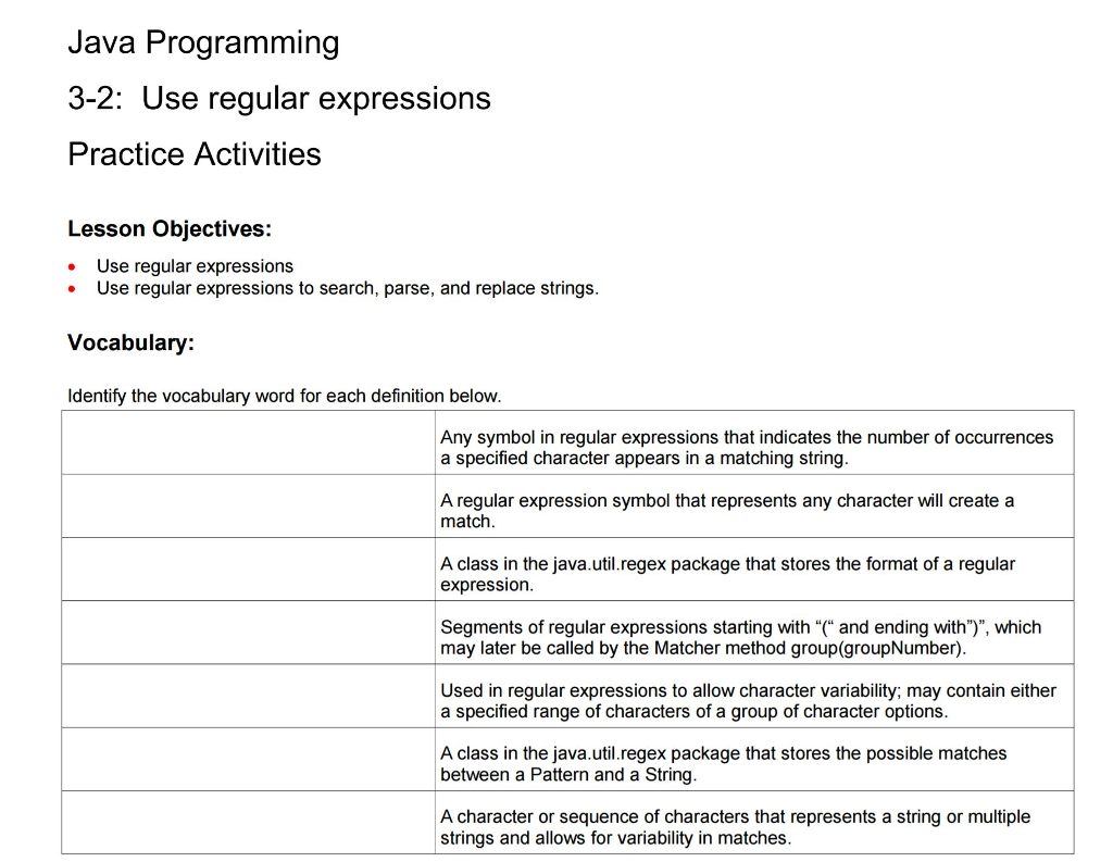 Solved Java Programming 3 2 Use Regular Expressions Prac