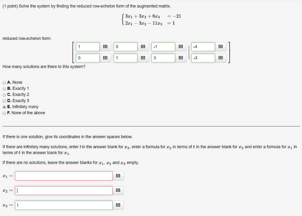 Solved: Solve The System By Finding The Reduced Row-echelo...   Chegg.com