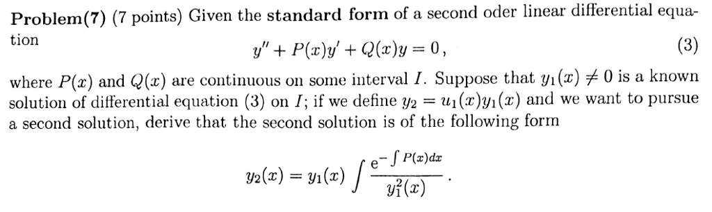 Solved Given The Standard Form Of A Second Order Linear D