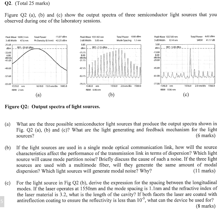 Q2. (Total 25 marks) Figure Q2 (a), (b) and (c) show the output spectra of three semiconductor light sources that you observed during one of the laboratory sessions Total Power 060 dBm Mode Spacing 1.1 nm Peak Wave 1557.00 nm 3 dB Width 0.14 nm Total Power -6.02 dBm SMSR 41.17 dB 15.07 d8m Peak Wave 1 55 1.82 nm 3 B Width 5.03 nm 0.85 Peak Wave 1600,3 nn Total Power 3 dBWidth 47.6 nm Pk Density (0.)42.25 dem 5 69 dBmREF: 269 dBm 33.69 4.00 3.00 REF :-5.00 dBm . 5.15 8.00 13.00 8.00 41.69 31.15 29.00 49.69 -47.15 45.00 57.69 63.15 61.00 65.69 9.15 77.00 1535.0 nm 16100 15.0 nmidiv 1685.0 1540.0 nm 1550.0 2.0 nm/div 15600 1546.0 nm 15560 2.0 nm/div 1566.0 RBW: 2 nm RBW: 0.06 nm RBW: 006 nm Figure Q2: Output spectra of light sources. What are the three possible semiconductor light sources that produce the output spectra shown in Fig. Q2 (a), (b) and (c)? What are the light generating and feedback mechanism for the light sources? (a) marks If the light sources are used in a single mode optical communication link, how will the source characteristics affect the performance of the transmission link in terms of dispersion? Which light source will cause mode partition noise? Briefly discuss the cause of such a noise. If the three light sources are used with a multimode fiber, will they generate the same amount of modal dispersion? Which light sources will generate modal noise? Why? (b) (11 marks) For the light source in Fig Q2 (b), derive the expression for the spacing between the longitudinal modes. If the laser operates at 1550nm and the mode spacing is 1.1nm and the refractive index of the laser material is 3.2, what is the length of the cavity? If both facets the laser are coated with antireflection coating to ensure the reflectivity is less than 10, what can the device be used for? (c) (8 marks)