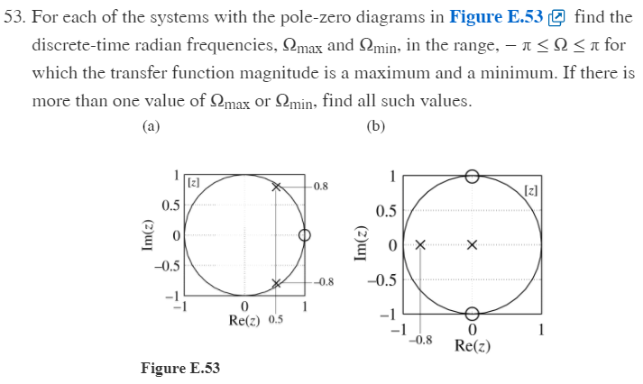 53. For each of the systems with the pole-zero diagrams in Figure E.53find the discrete-time radian frequencies. ?max and ?min, in the range,-? ? ? for which the transfer function magnitude is a maximum and a minimum. If there is more than one value of ?max or ?1min, find all such values z] 0.8 [zl 0.5 0.5 -0.5 8 -0.5 -1 0 Re(z) 0.5 -1 0 o.8 Re(z) Figure E.53