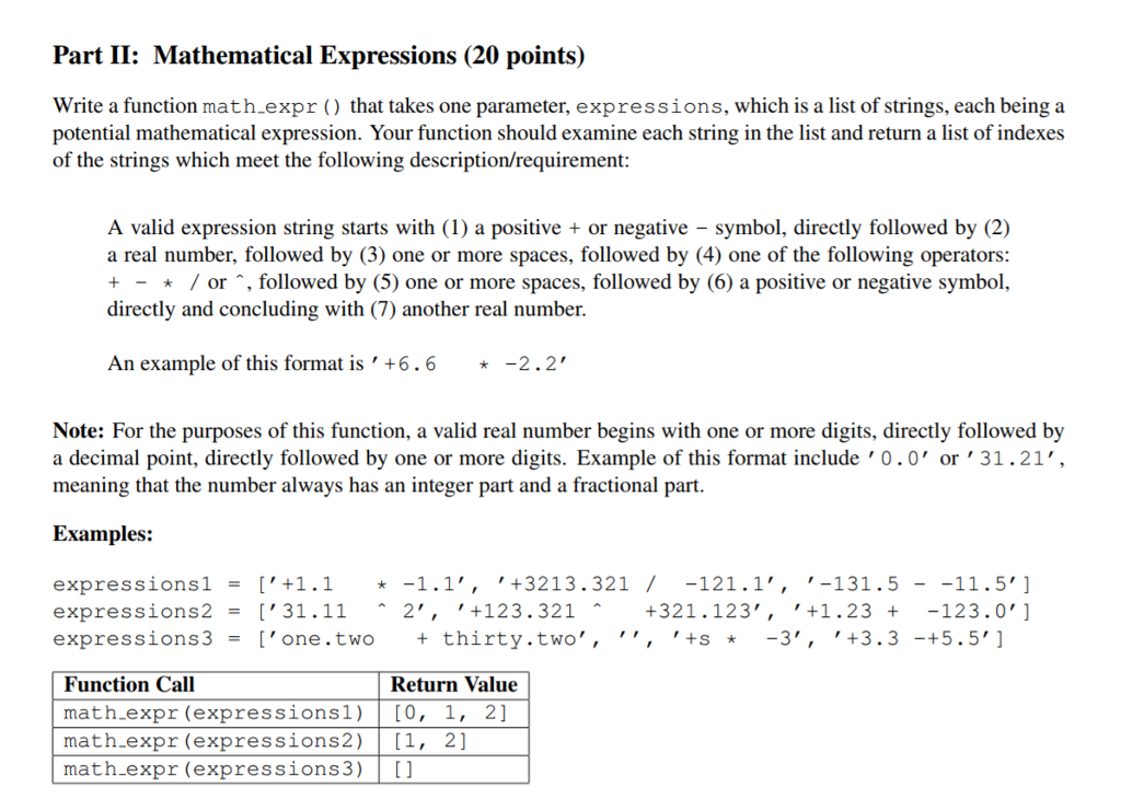 Solved Write A Function Math Expr That Takes One Parame