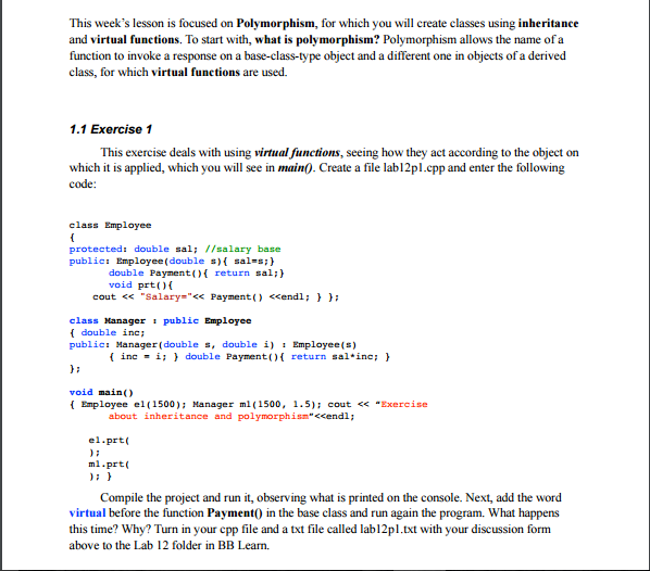 Solved This Week S Lesson Is Focused On Polymorphism For Chegg Com