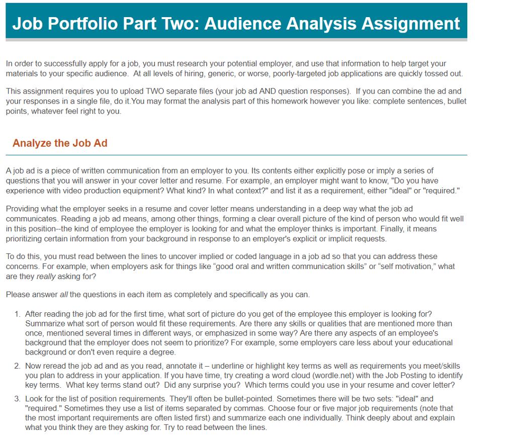 Job Portfolio Part Two: Audience Analysis Assignme... | Chegg.com