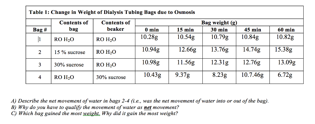 table 2 water movement bag 1 Color of the solution in table 1 5 place 200ml of water in a 250ml beaker  figure 2 be sure to indicate the movement of water in each  name _____ period.