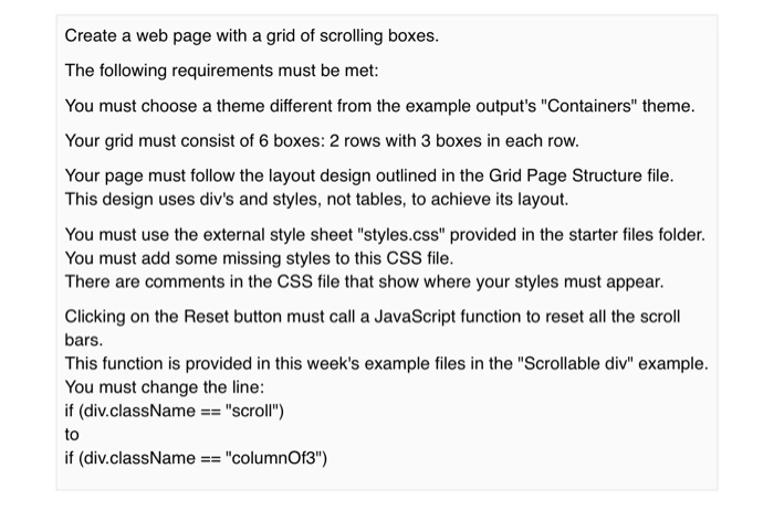 Solved: MUST USE GRID PAGE STRUCTURE AND CSS FILE PROVIDED