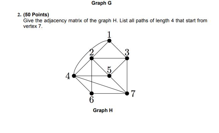 Solved: Graph G 2  (50 Points) Give The Adjacency Matrix O