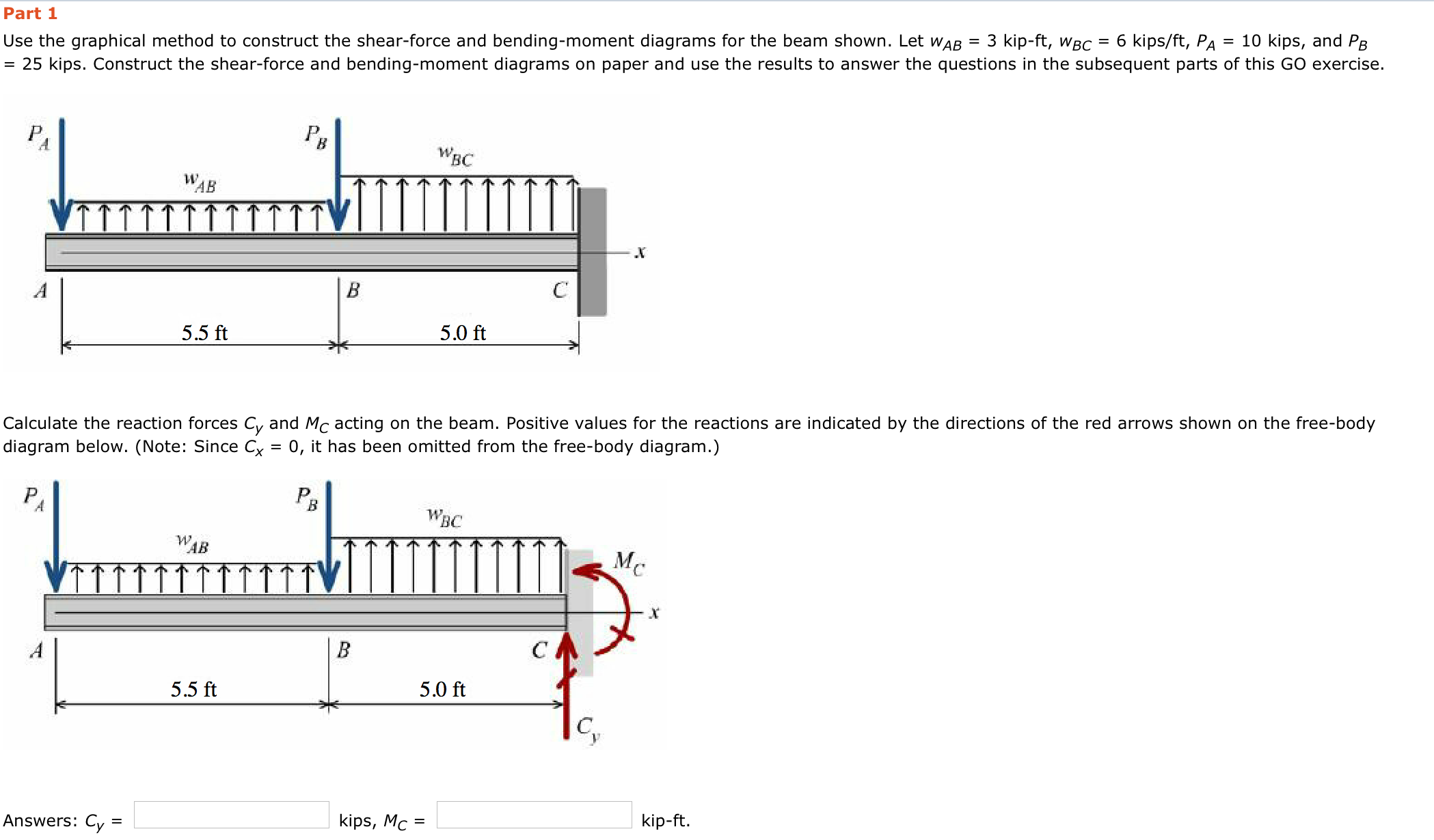 Solved Part 2 Determine The Shear Force Acting At Each Of Diagram Bending Moment 1 Use Graphical Method To Construct And