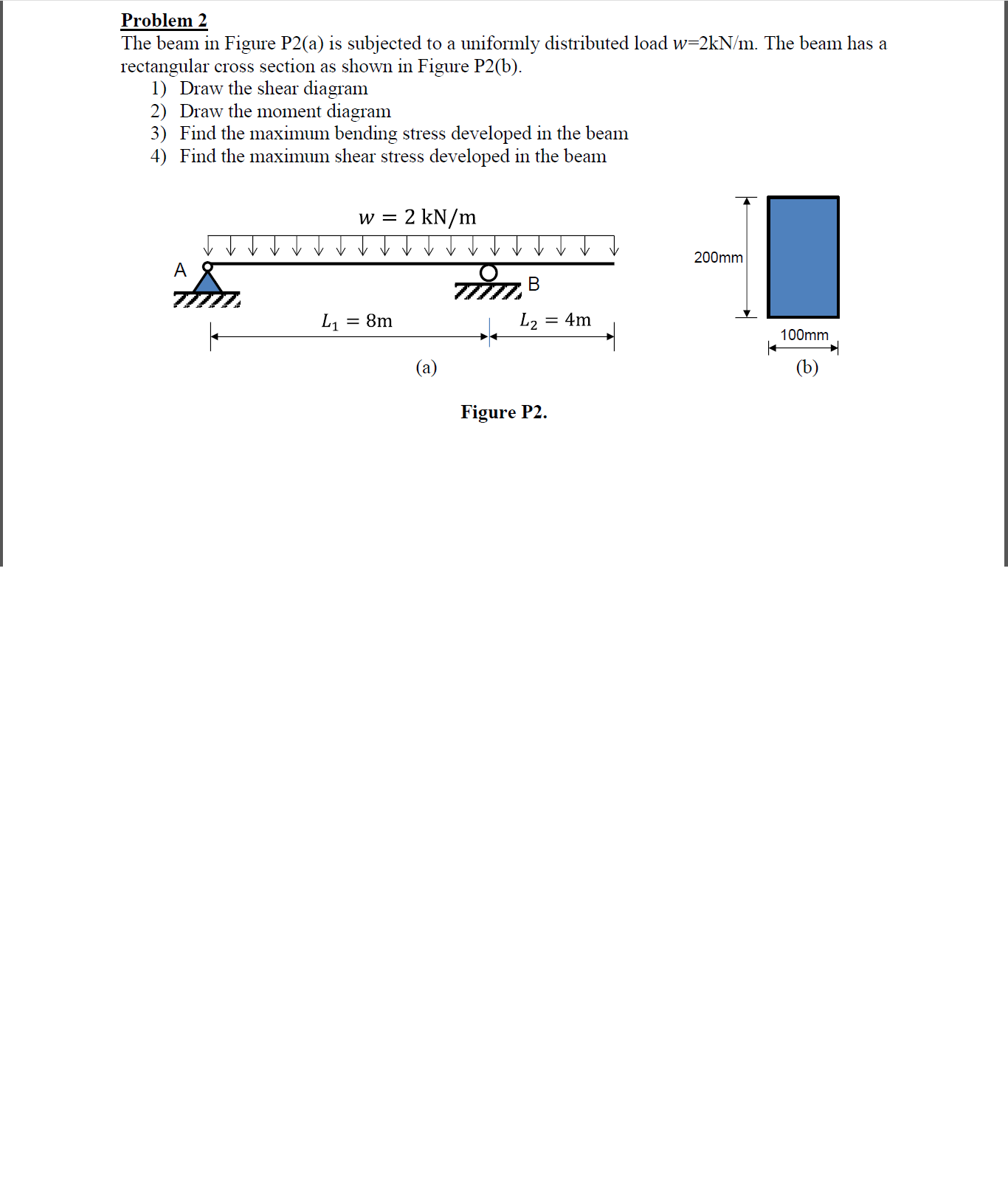 Solved The Beam In Figure P2a Is Subjected To A Uniform Shear Diagram Distributed Load Question Uniformly W2kn M Has Rec