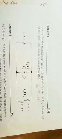 Use the Fourier transform to find i_0 (t) in the c