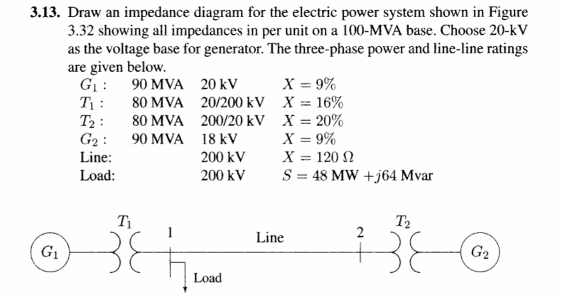 Solved: Draw An Impedance Diagram For The Electric Power S ... on