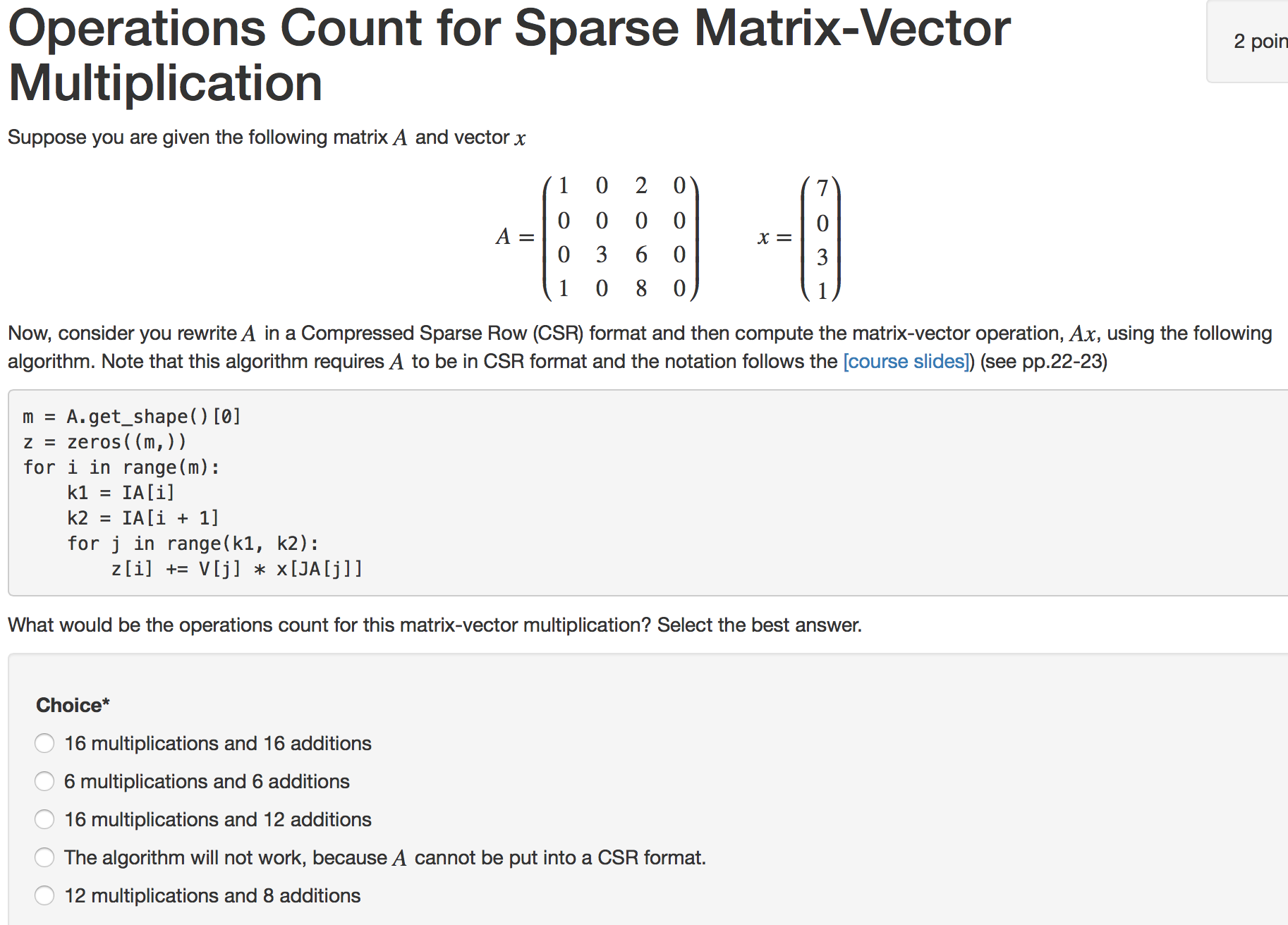 Operations Count For Sparse Matrix-Vector Multipli