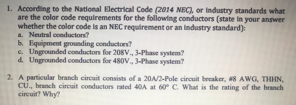 Solved: 1. According To The National Electrical Code (2014 ...