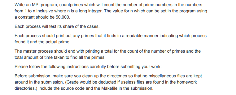 Solved: Write An MPI Program, Countprimes Which Will Count