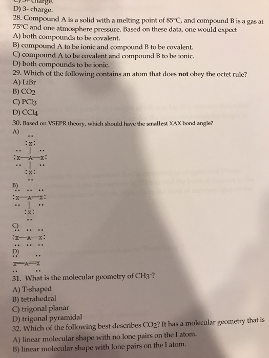 Solved: 28.)Compound A Is A Solid With A Melting Point Of ...