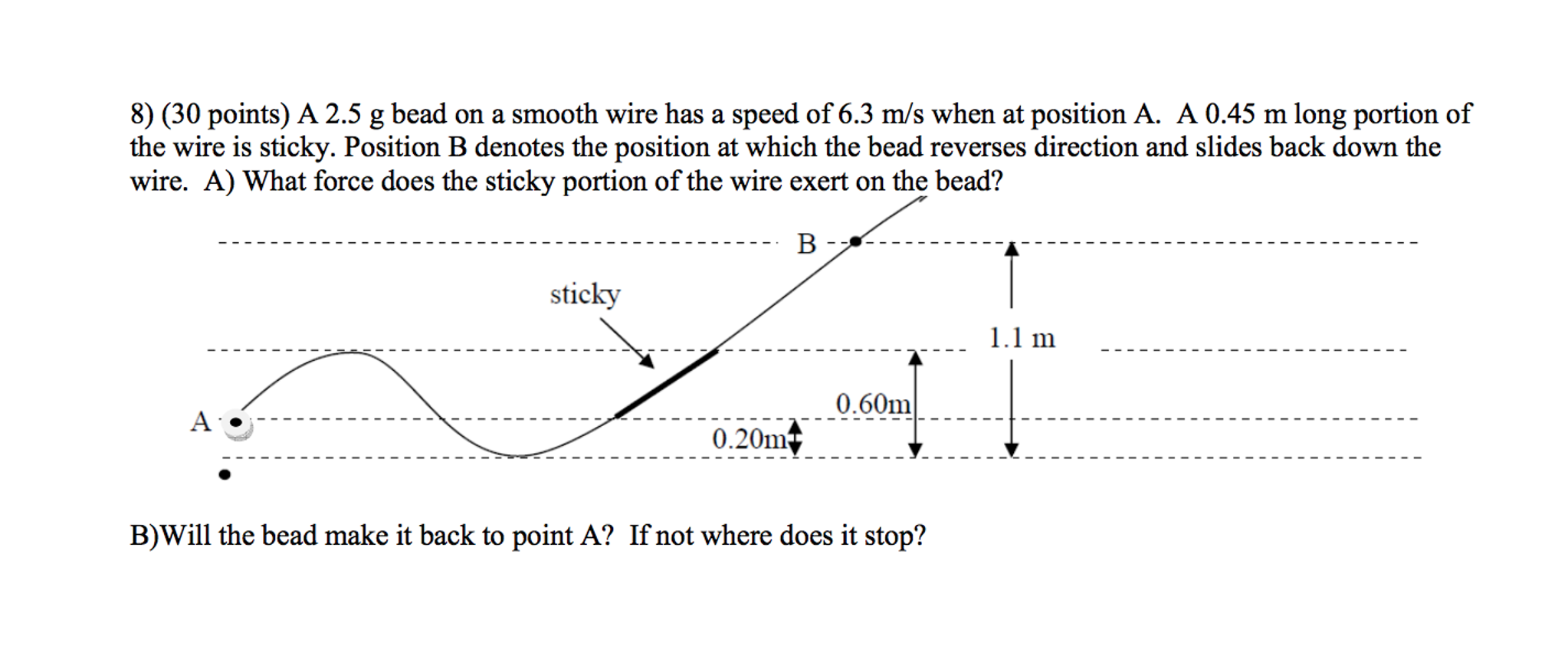Solved: A 2.5 G Bead On A Smooth Wire Has A Speed Of 6.3 M ...