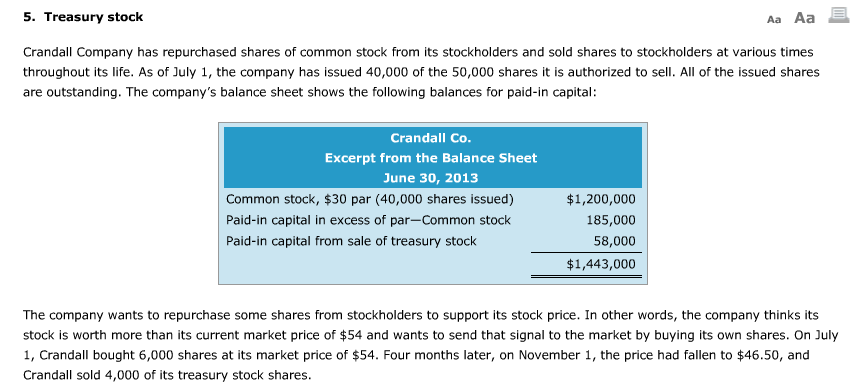 Solved: Aa Aa E 5  Treasury Stock Crandall Company Has Rep