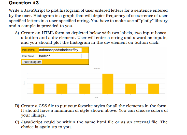 Write A JavaScript To Plot Histogram Of User Enter