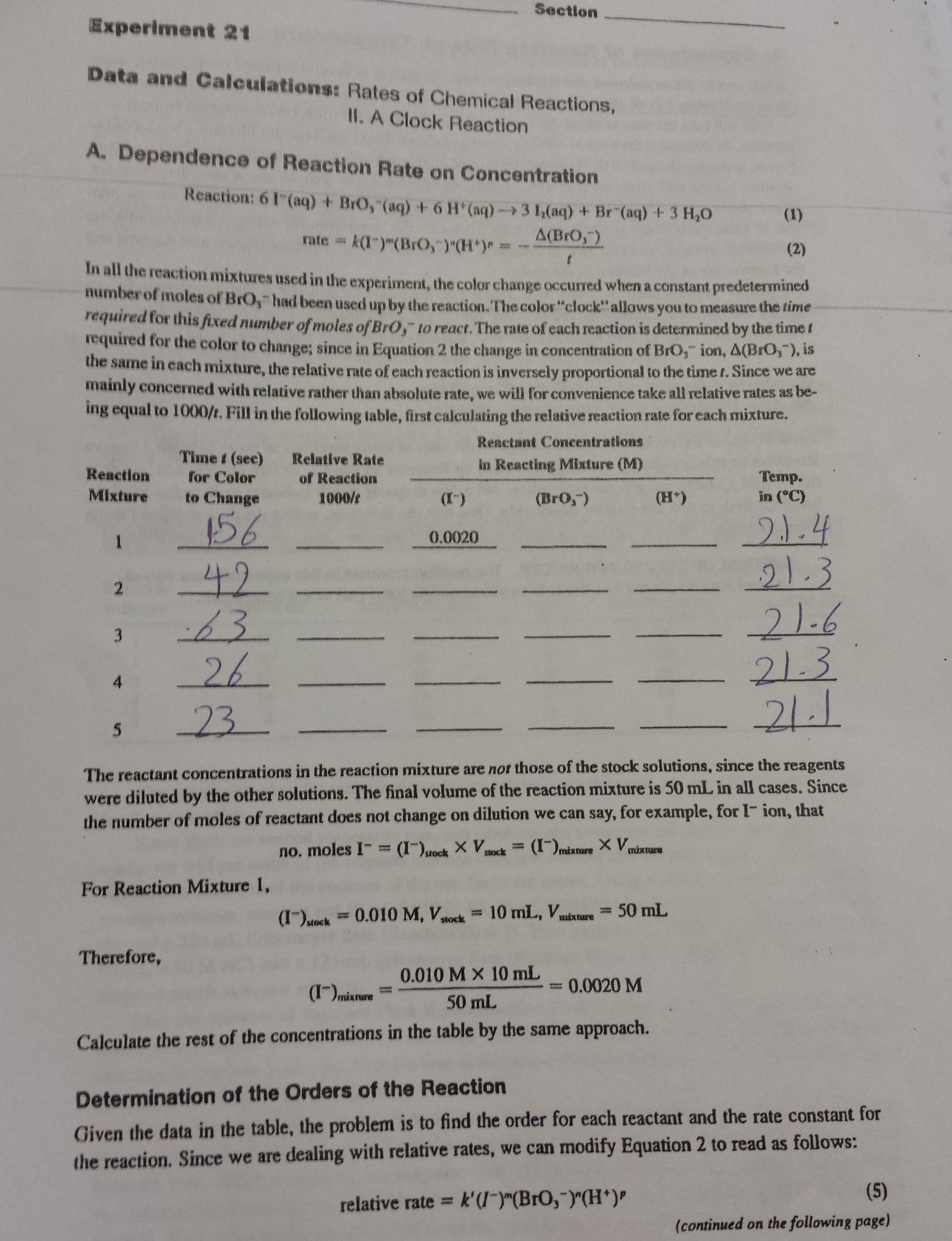 the rate and order of a chemical reaction lab report answers