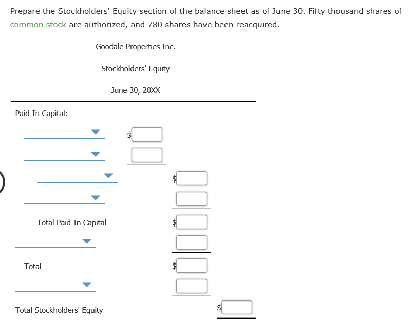 Solved: EBook Calculator Stockholders' Equity Section Of B