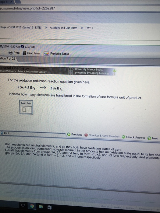 Solved: For The Oxidation-reduction Reaction Equation Give ...