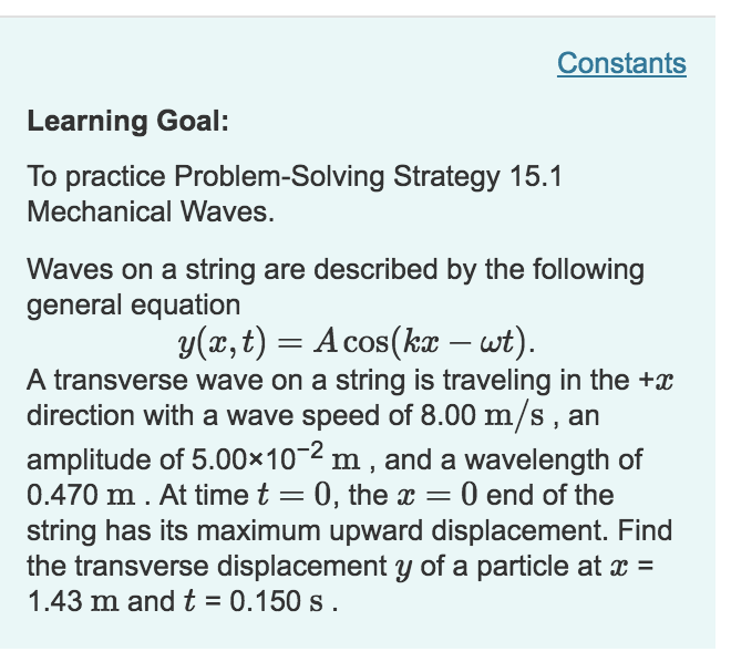 Solved: Constants Learning Goal: To Practice Problem-Solvi ...