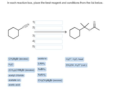 in each reaction box place the best reagent and conditions from the list below oh-#29