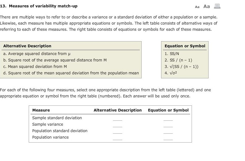 Solved: 13  Measures Of Variability Match-up Aa Aa There A