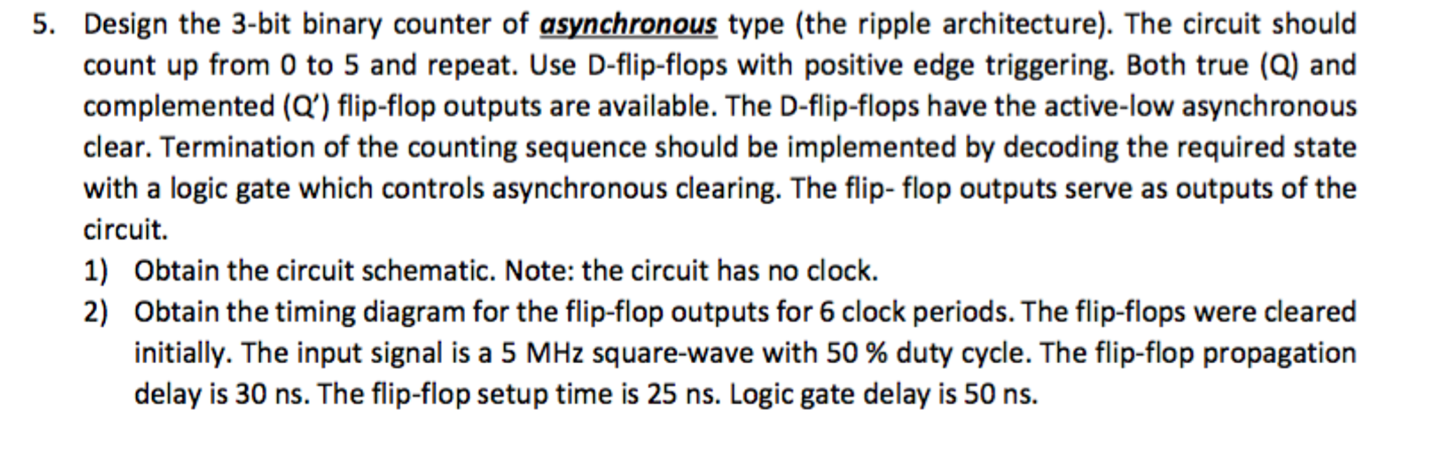 Solved: Design The 3-bit Binary Counter Of Asynchronous Ty ...