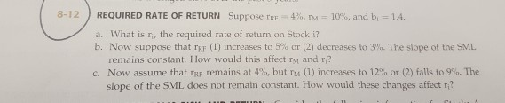 suppose rrf 9 rm 14 and bi 1 3 a what is ri the required rate of return on stock i Assignment help  financial management  required rate of return suppose rrf = 6%, rm = 12%, and bi = 16 a) what is ri, the required rate of return on stock i.