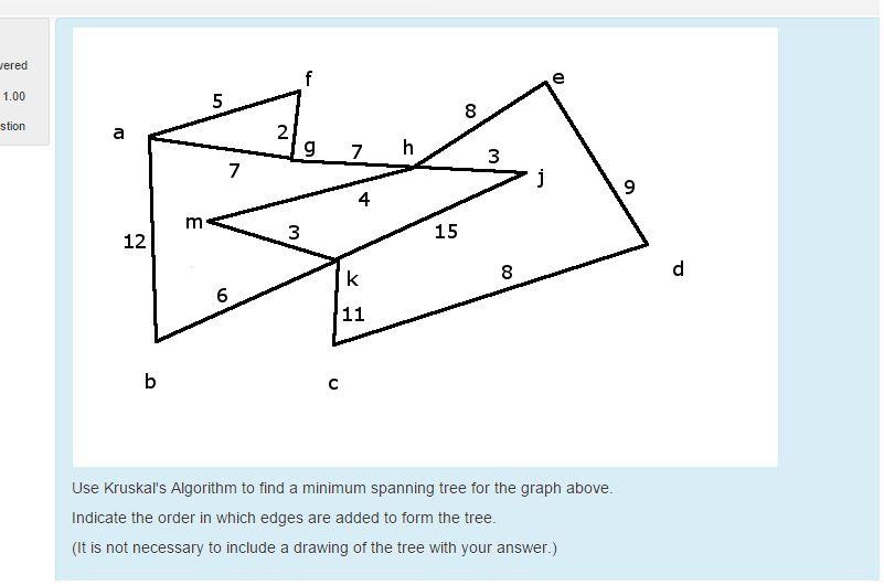 Solved: Use Kruskal's Algorithm To Find A Minimum Spanning