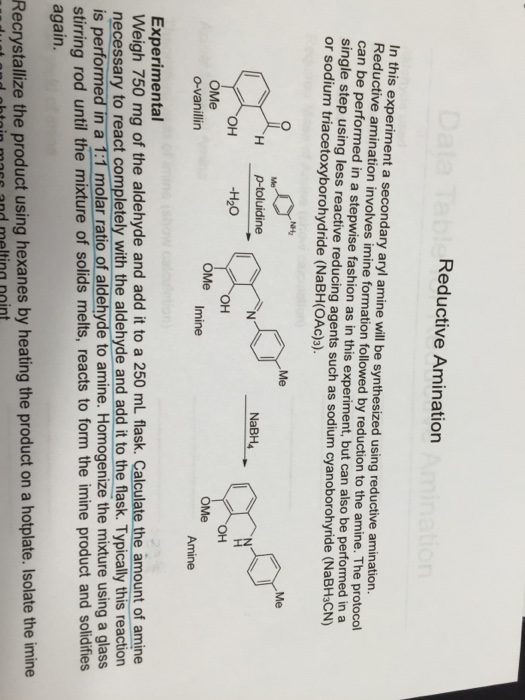 Solved: Reductive Amination Reaction: For This Experiment