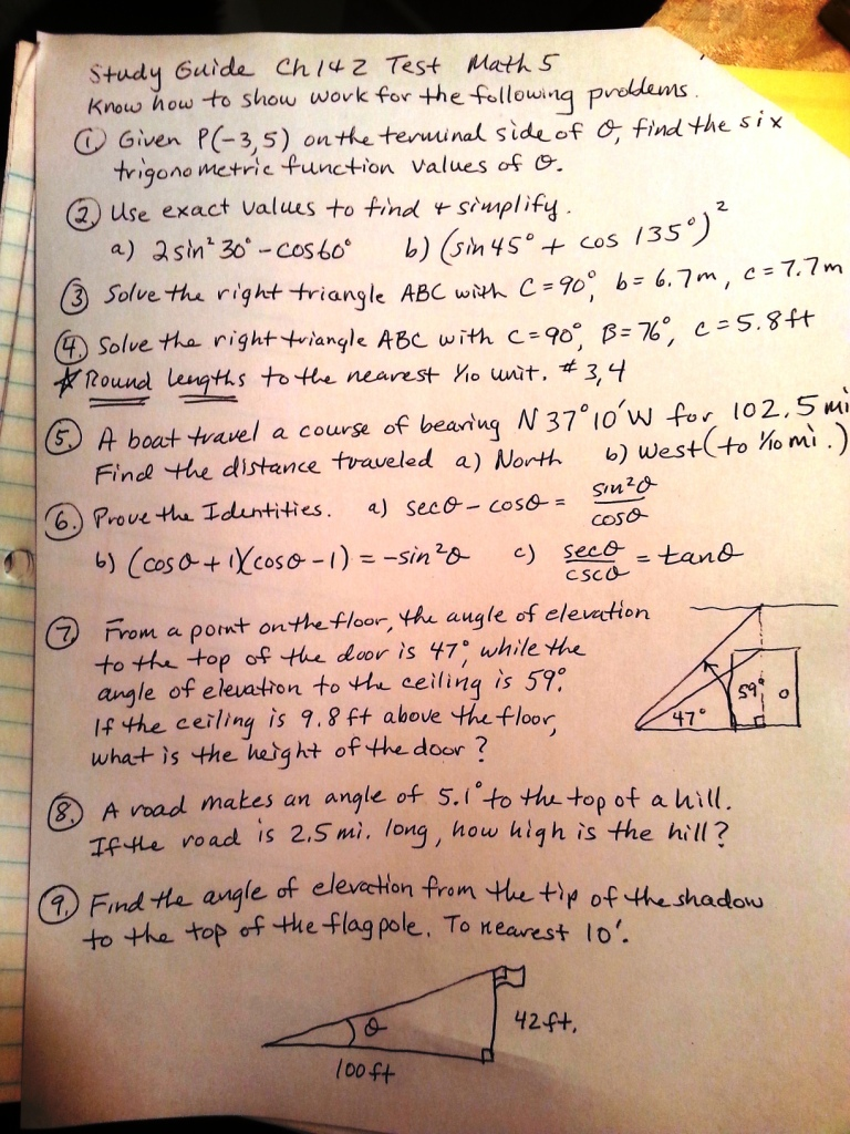 Solved: Need Correct Answers To A Trig Study Guide So I Ca ...
