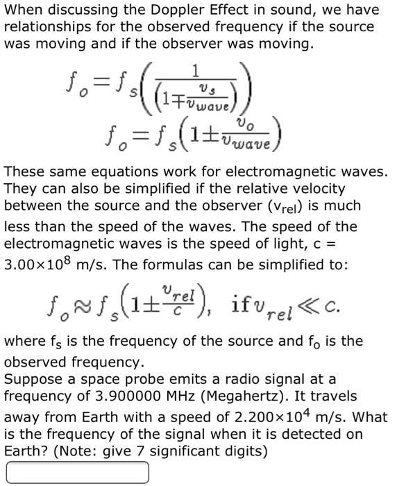 Solved: When Discussing The Doppler Effect In Sound, We Ha