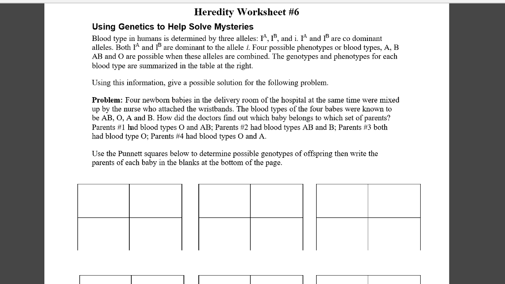 Solved Heredity Worksheet 6 Using Genetics To Help Solve