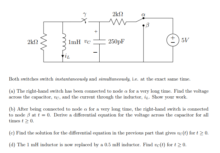 Solved: Consider The Circuit Shown Below. The Switch On Th ...