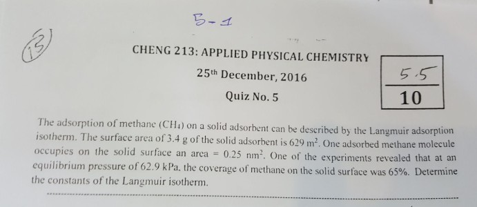 Solved: CHENG 213: APPLIED PHYSICAL CHEMISTRY 25th Decembe