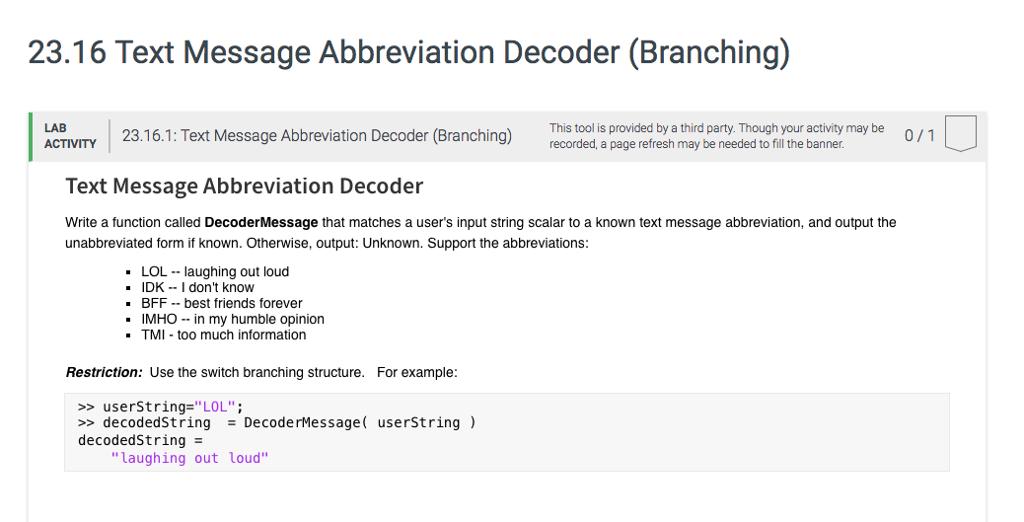 2316 Text Message Abbreviation Decoder Branching LAB 23161