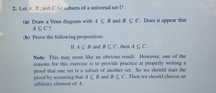 Solved 2 let a b and c be subsets of a universal set u let a b and c be subsets of a universal set u ccuart Images