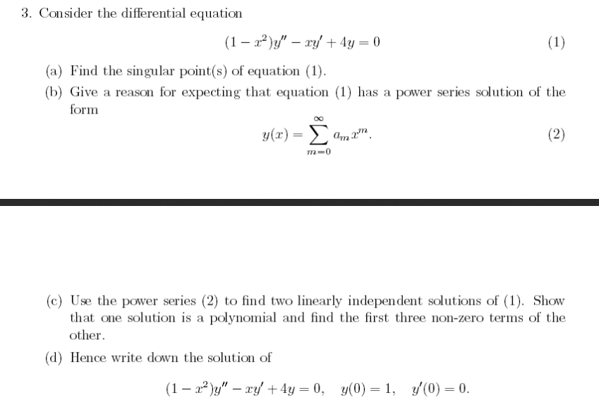 Solved: Consider The Differential Equation (1 - X^2)y