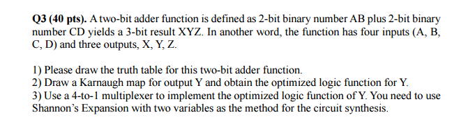 Solved Q3 40 Pts A Two Bit Adder Function Is Defined A